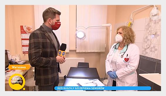 Dyrektor Małgorzata Zaława-Dąbrowska udziela wywiadu Filipowi Chajzerowi z Dzień Dobry TVN