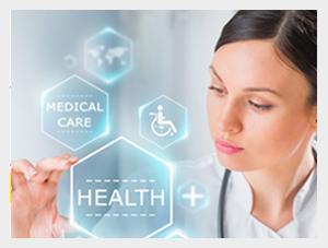 Lekarka wskazująca ikonki z napisami: Health oraz Medical Care, a także z symbolem krzyża, wózka inwalidzkiego oraz mapy świata